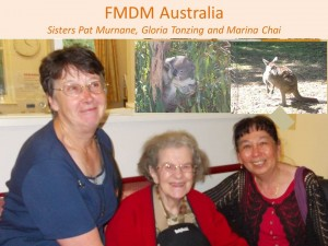 Sisters Patricia Murnane, Gloria Tonzing and Marina Chai in Australia